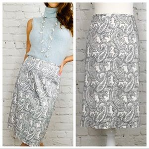 BROOKS BROTHERS Paisley Pencil Skirt